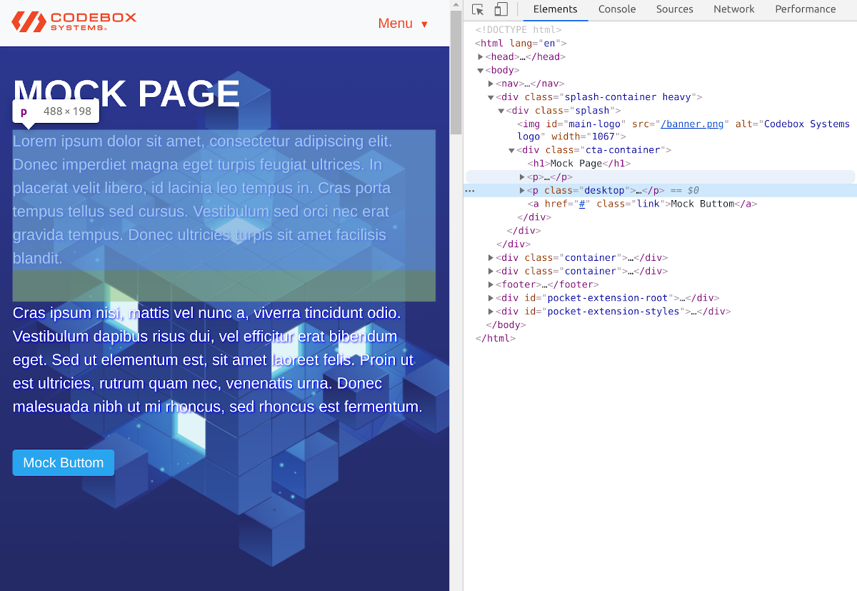 Example source code for a web page