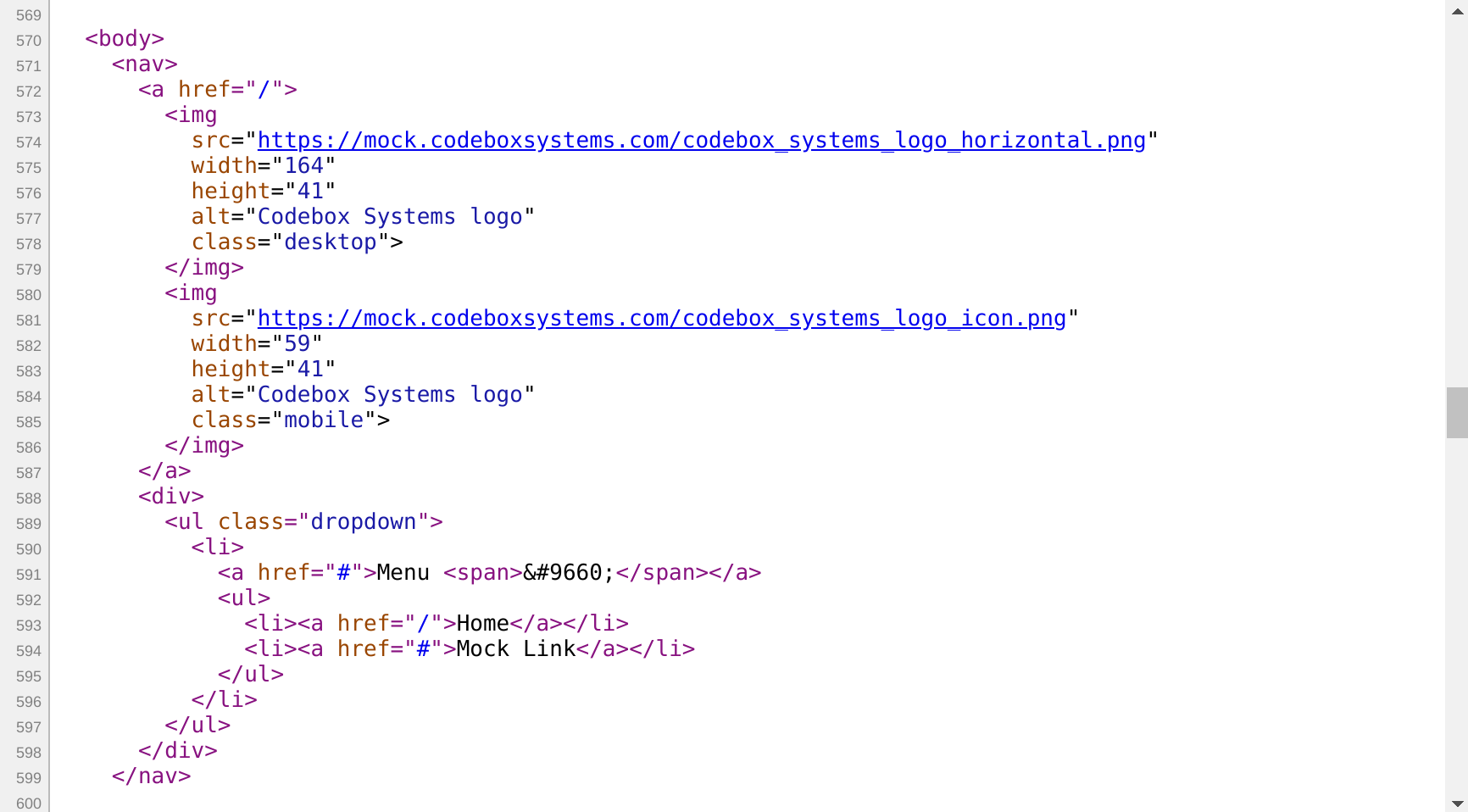 Web page with the Chrome browser inspector enabled, showing the HTML element that matches the element in the source code